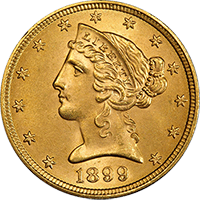 $5 Liberty Gold Half Eagle Obverse