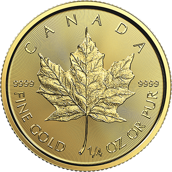 Fourth oz Gold Canadian Maple Obverse