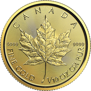 Tenth oz Gold Canadian Maple Obverse