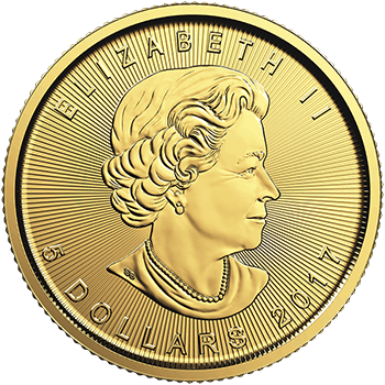 Tenth oz Gold Canadian Maple Reverse