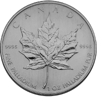 1 oz Palladium Maple Obverse
