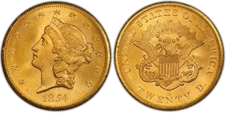 1854 San Francisco Double Eagle