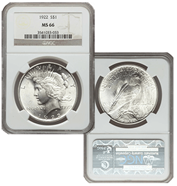MS66 1922 Silver Peace Dollar