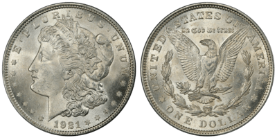 1921 MS63 Morgan Silver Dollar