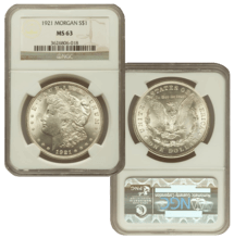 1921 MS63 Morgan Silver Dollar Slabbed