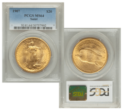 PCGS MS64 1907 $20 Saint-Gaudens Double Eagle Slabbed