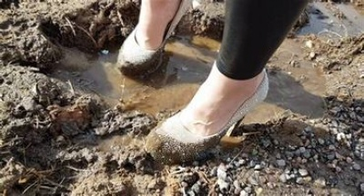 Uphill, in the Mud… in High Heels